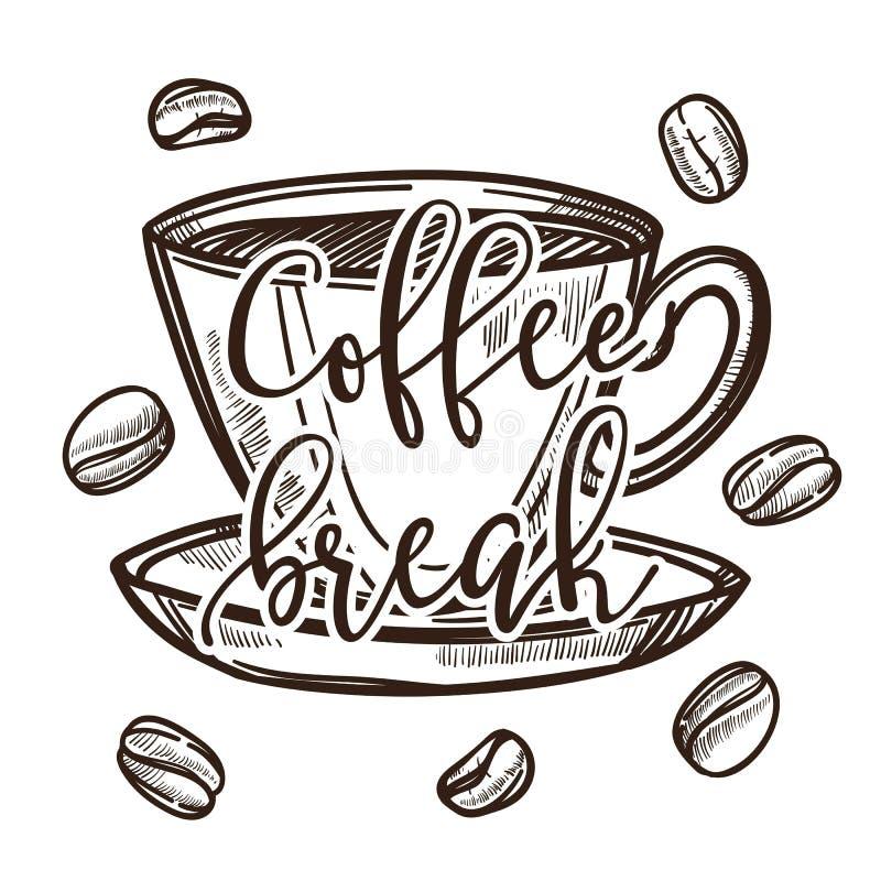 Café de las habas de la taza y del platillo del descanso para tomar café o bosquejo aislado barra libre illustration