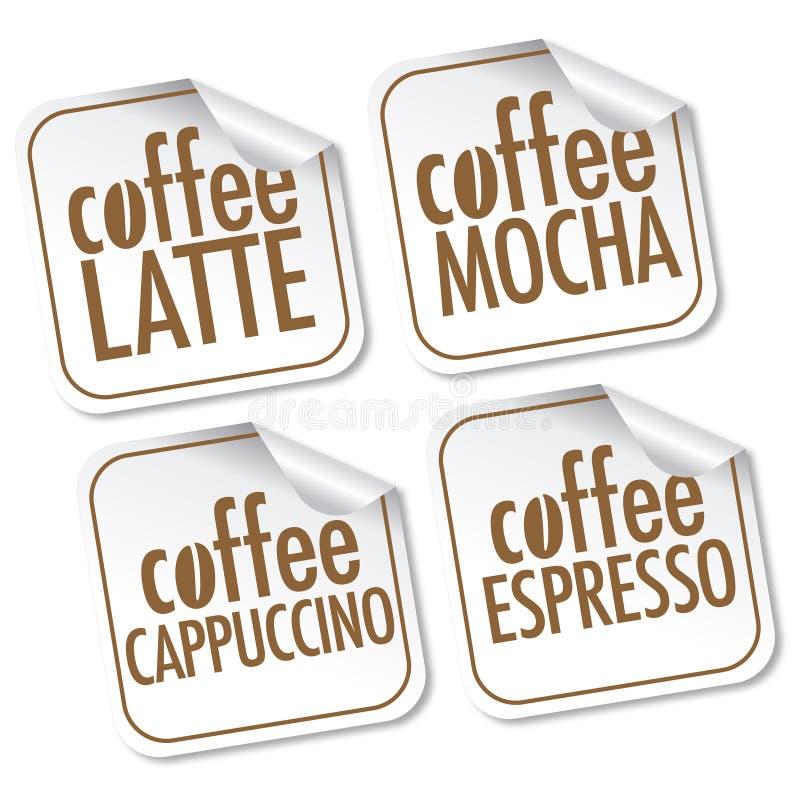 Café de Latte, del Mocha, del Cappuccino y del café express stock de ilustración
