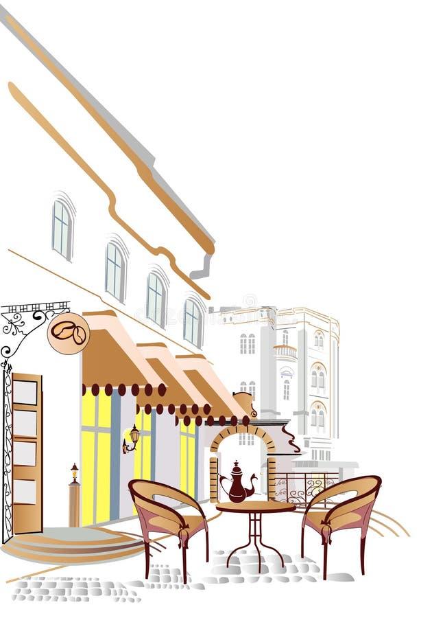 Café de rue illustration de vecteur