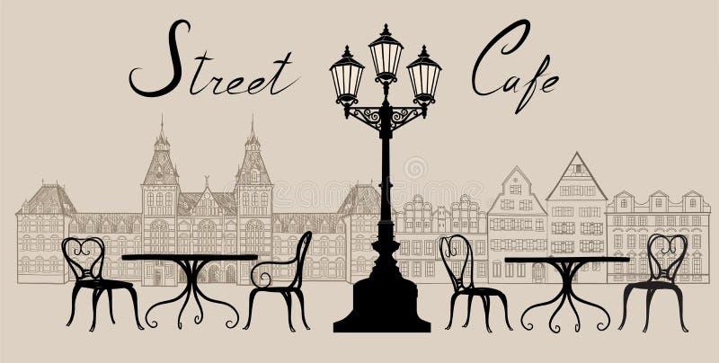 Café de rue dans la vieille ville Paysage urbain - maisons, bâtiments et arbre illustration stock