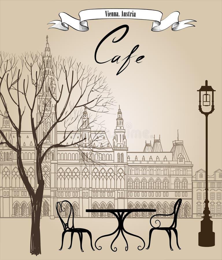Café de rue dans la vieille ville Paysage urbain - maisons, bâtiments et arbre illustration libre de droits