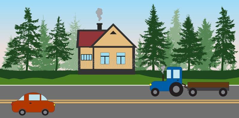 Café del borde de la carretera cerca del bosque, el camino con un coche y un tractor libre illustration