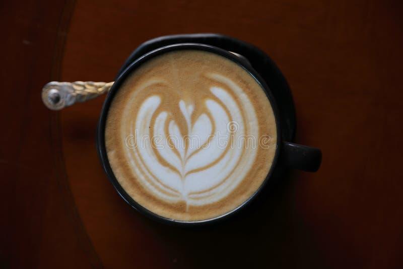Café del capuchino en la visión superior foto de archivo