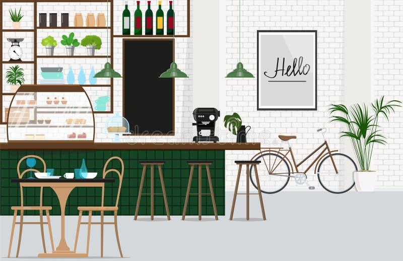 Café del diseño interior con una barra, un escaparate con los pasteles, máquina del café, taburetes de bar, grupo del comedor Eje libre illustration