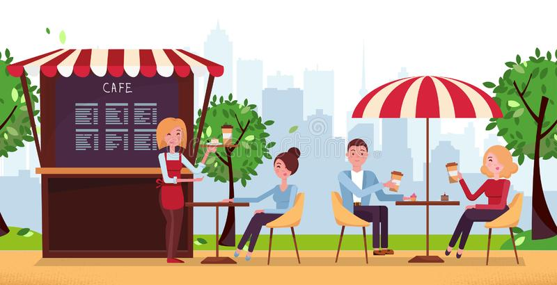 Café del parque con el paraguas La gente bebe Coffe en café al aire libre de la calle en terraza del restaurante Parque con el ca libre illustration
