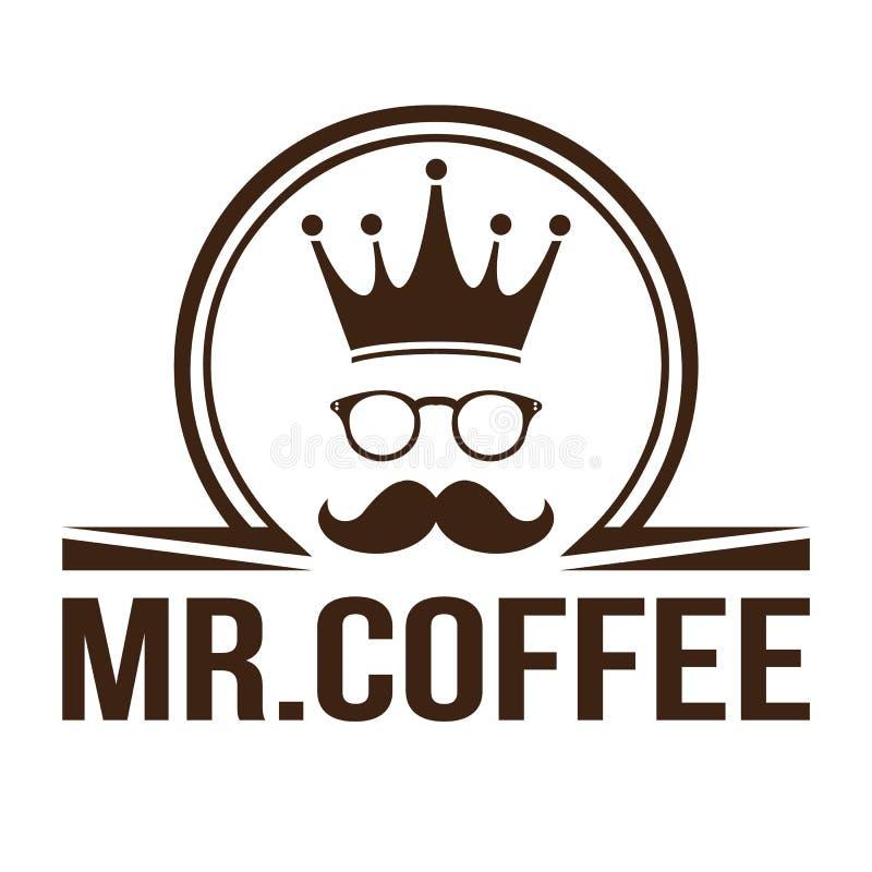 Café del rey del logotipo stock de ilustración