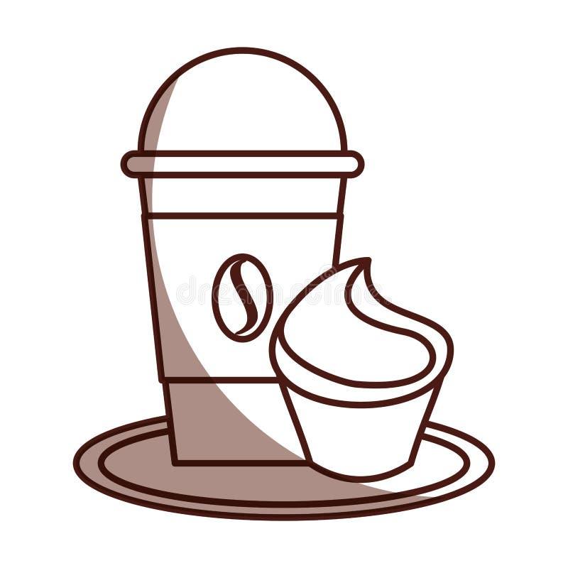Café delicioso con la magdalena ilustración del vector