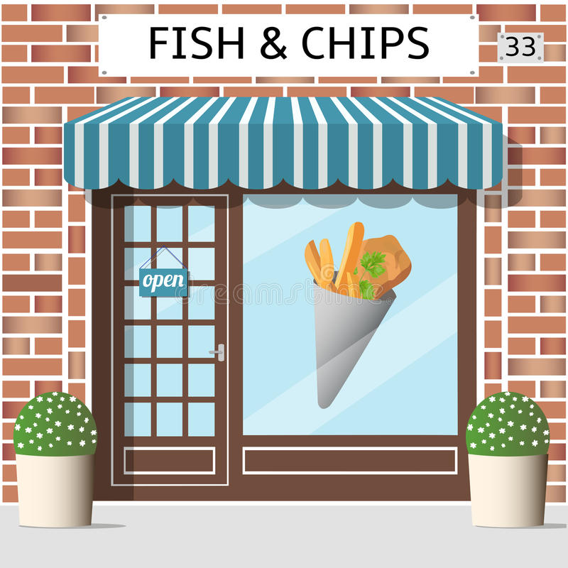Café der Fisch und vektor abbildung