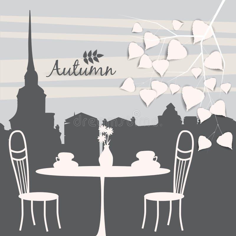 Café der Straße im Freien in der alten Stadt, Couchtisch mit Schalen, Stühle, Herbstlaub, Stimmung des Falles, Romance, Illustrat lizenzfreie abbildung