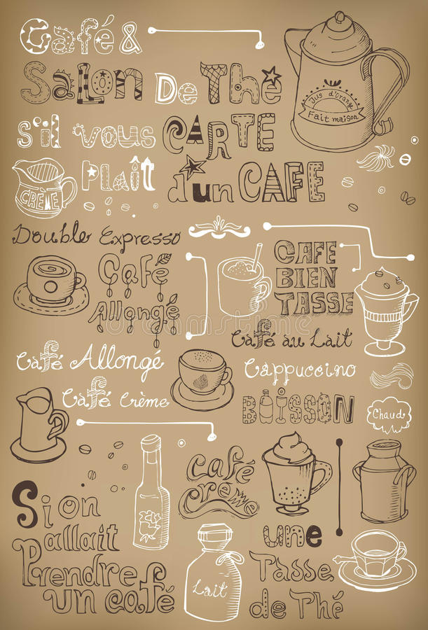 Café dibujado mano del vintage en francés libre illustration