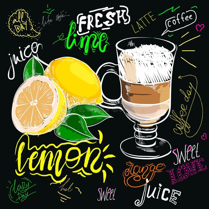 Café dibujado tiza con el limón Estilo colorido, comida y especias del bosquejo de la tiza de la legumbre de frutas de la comida  ilustración del vector