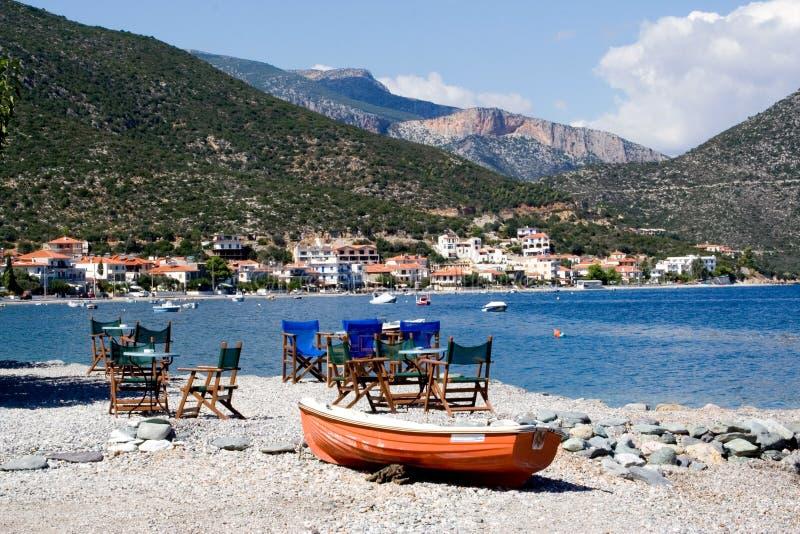 Café do barco da praia imagem de stock royalty free