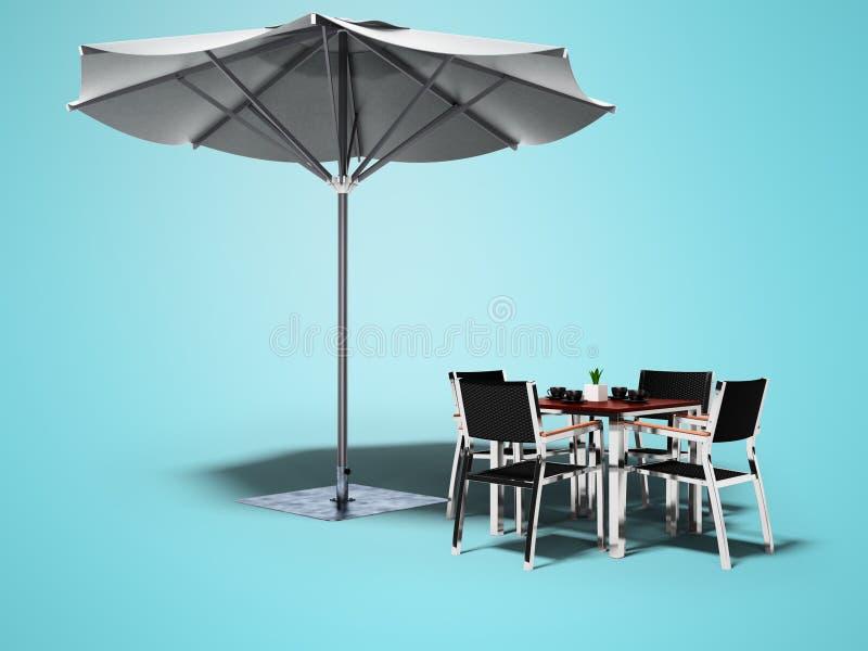 Café do conceito Guarda-chuva e tabela de praia com cadeiras 3d para render no fundo azul com sombra ilustração do vetor