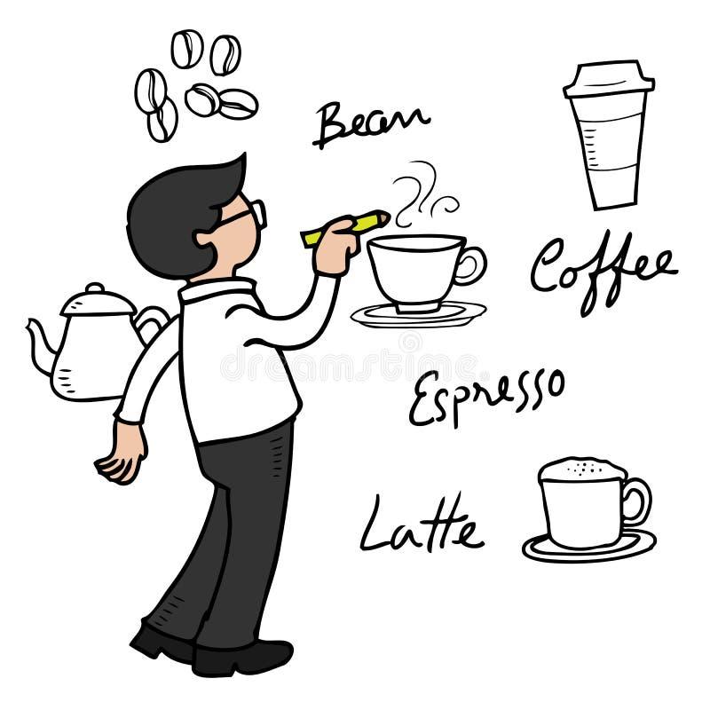Café do desenho do homem na parede ilustração stock