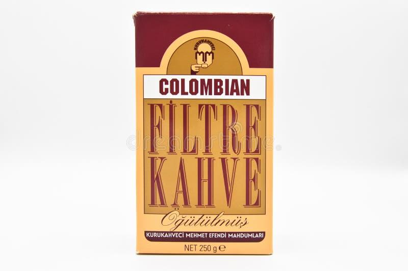 Café do filtro de Kuru Kahveci Mehmet Efendi Colombian imagens de stock royalty free