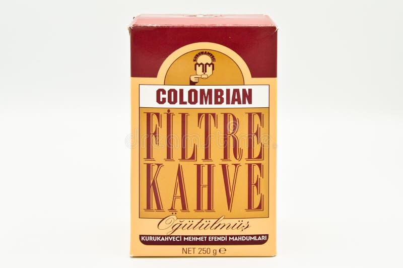 Café do filtro de Kuru Kahveci Mehmet Efendi Colombian imagem de stock royalty free