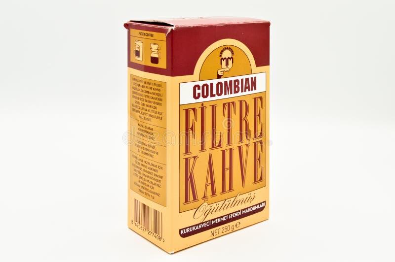 Café do filtro de Kuru Kahveci Mehmet Efendi Colombian foto de stock royalty free