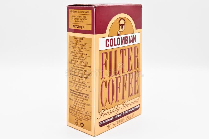 Café do filtro de Kuru Kahveci Mehmet Efendi Colombian imagem de stock