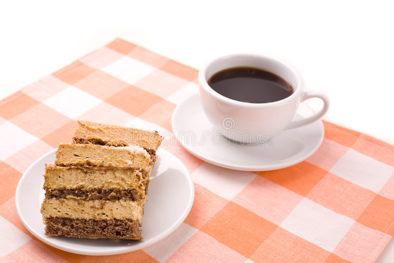 Café e bolo imagens de stock