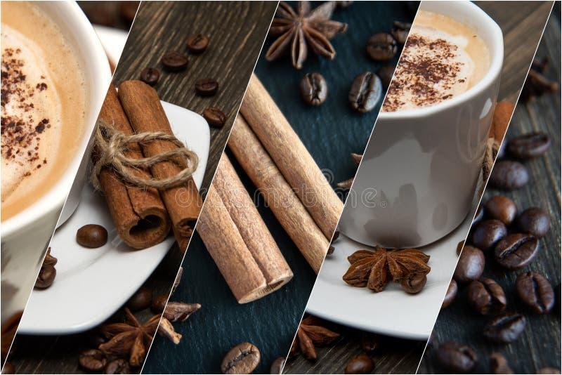 Café e canela Compilação de elementos da decoração foto de stock