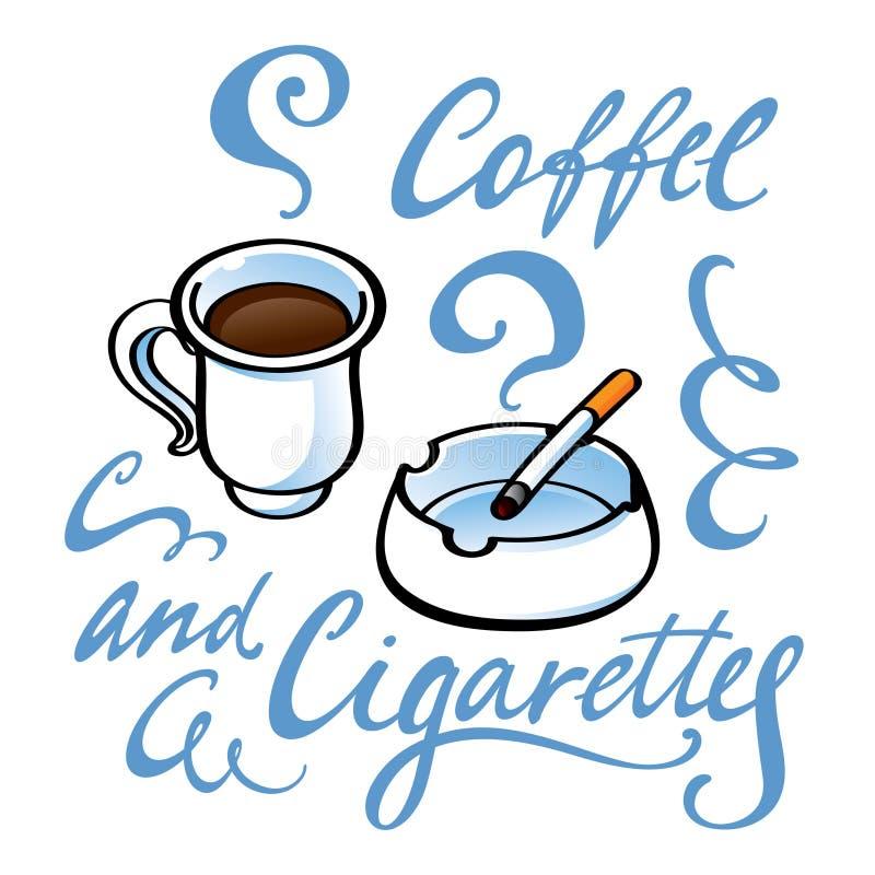 Café e cigarros ilustração stock