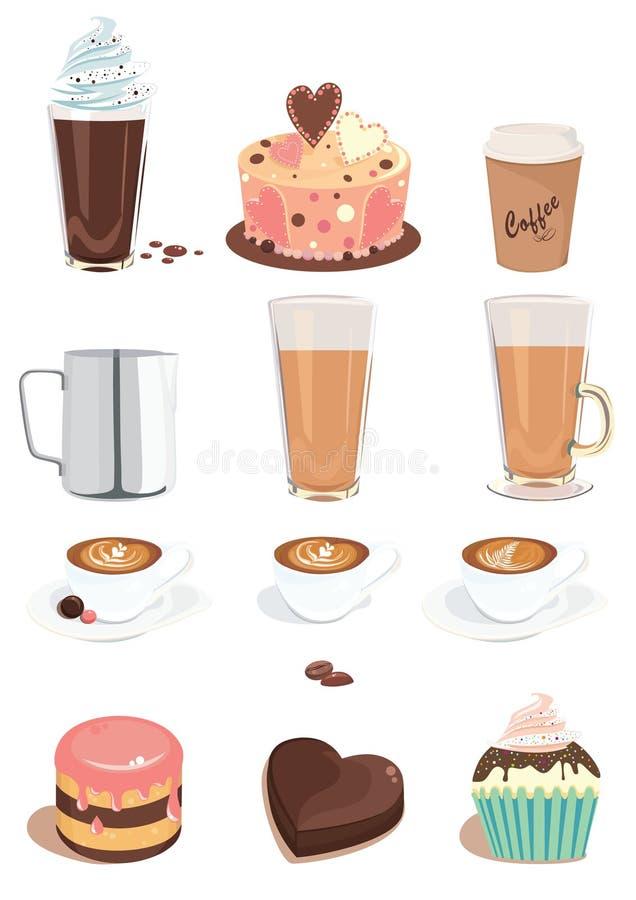 Café e doces ajustados ilustração stock