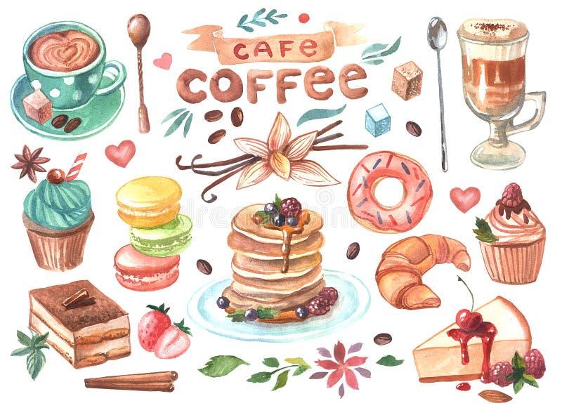 Café e doces tirados mão da ilustração da aquarela fotos de stock