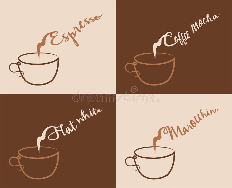 Café e outros tipos do café com vapor ilustração do vetor