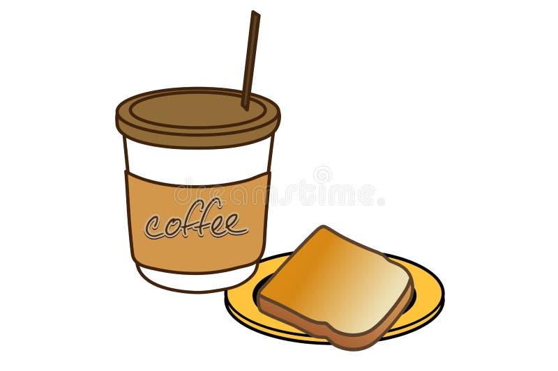Café e pão ilustração royalty free