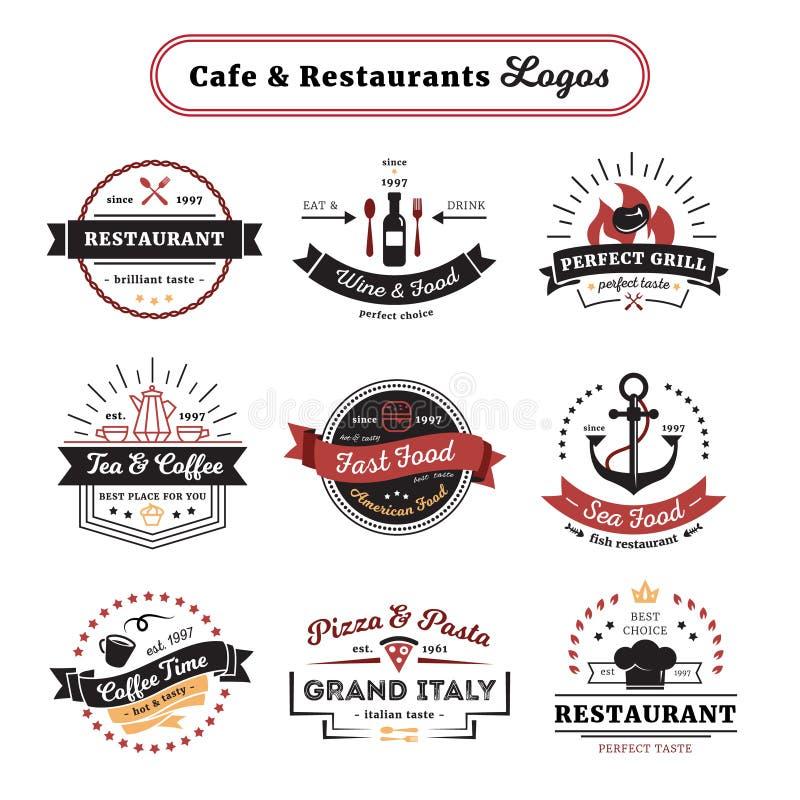 Café e projeto do vintage dos logotipos do restaurante ilustração stock