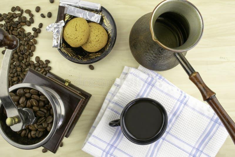Café e sua preparação fotografia de stock royalty free