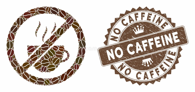 Café en collage interdit avec timbre sans caféine illustration stock