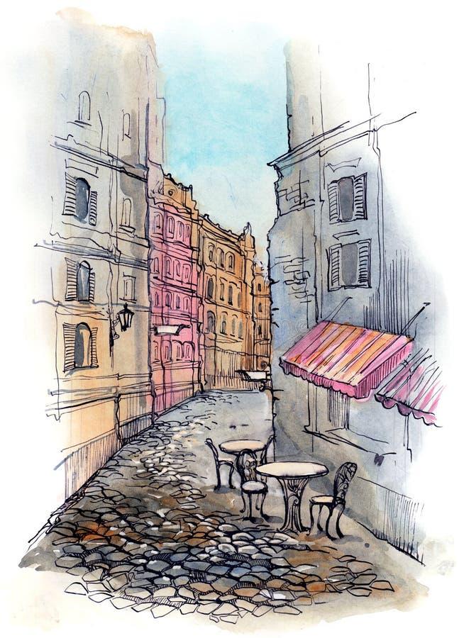 Café en la calle ilustración del vector