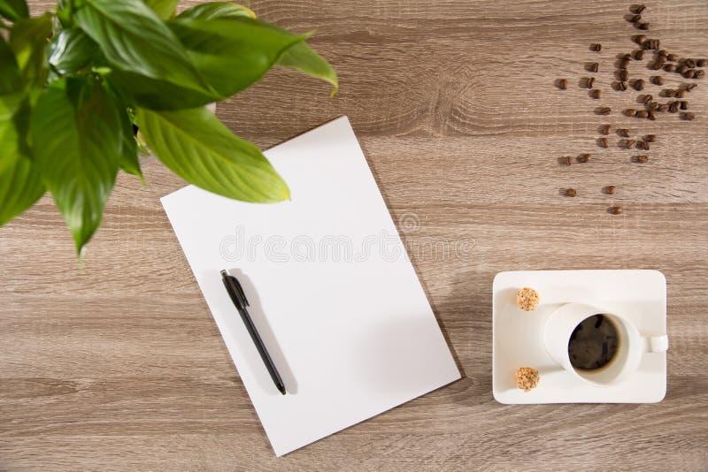 Café en la tabla con la planta verde, los granos de café y el espacio en blanco blanco p imagenes de archivo