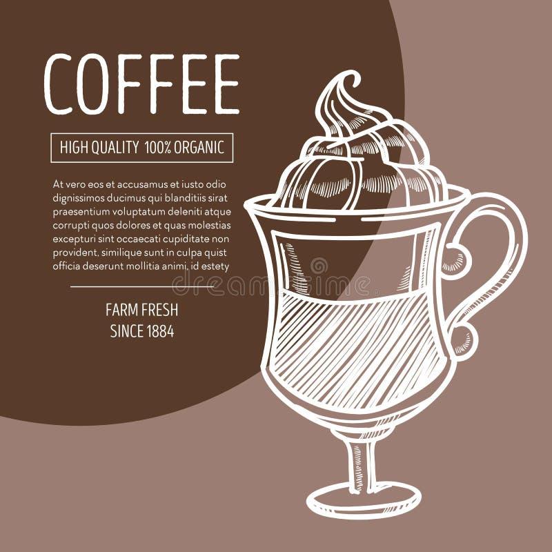 Café en vidrio con bosquejo irlandés de la tiza de la receta de la espuma libre illustration