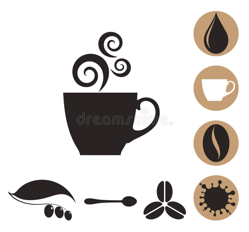 Café Ensemble d'icône illustration stock