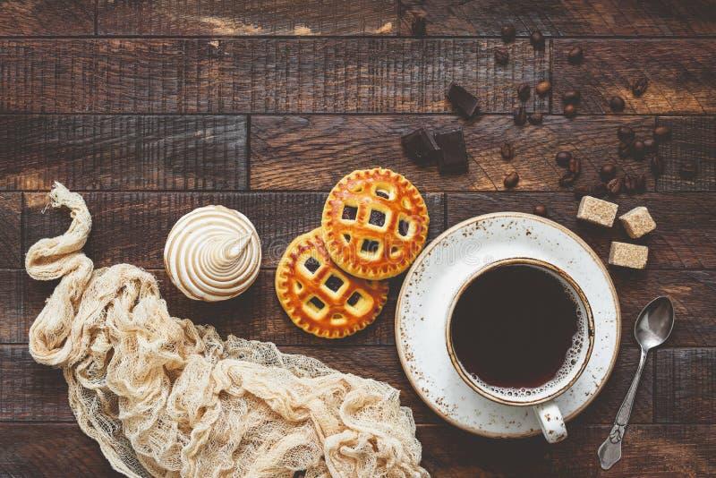 Café et biscuits, fond de nourriture photo stock