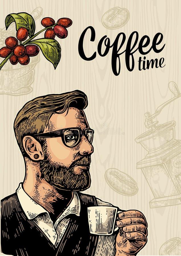 Café et branche de tasse de participation de barman de hippie avec la feuille et la baie illustration de vecteur