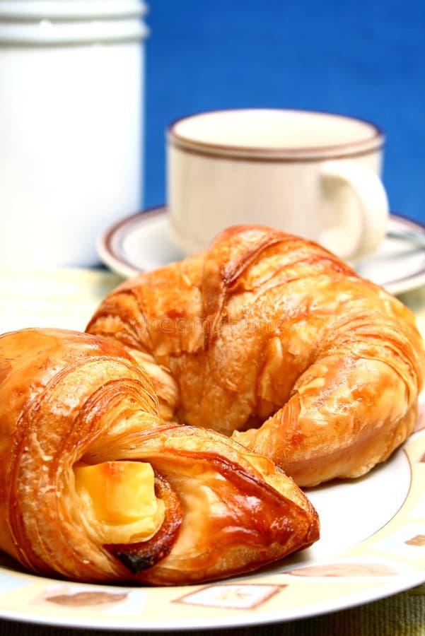 Café et croissant image libre de droits