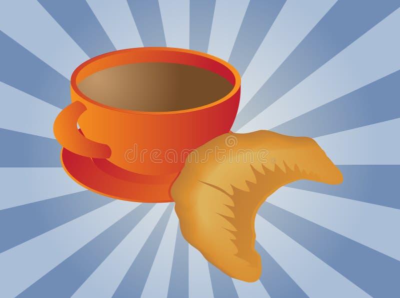 Café et croissant illustration stock