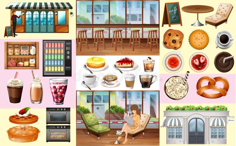 Café et différents genres de nourriture et de boissons illustration stock
