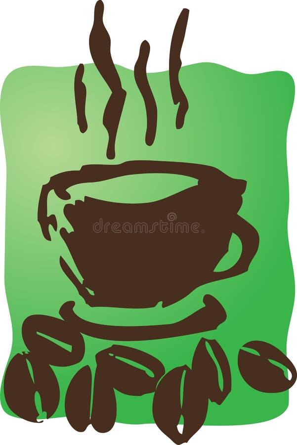 Café et haricots illustration de vecteur