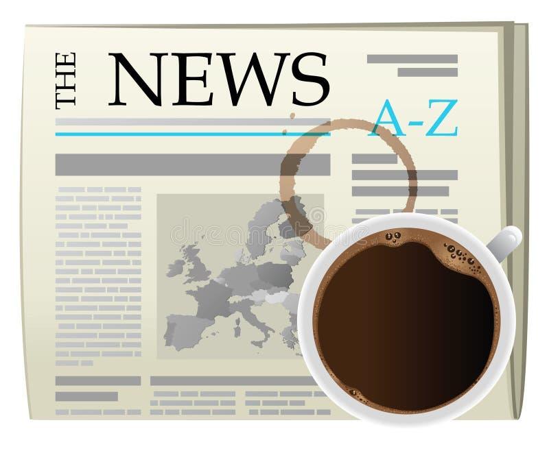 Café et journal de deuil illustration stock