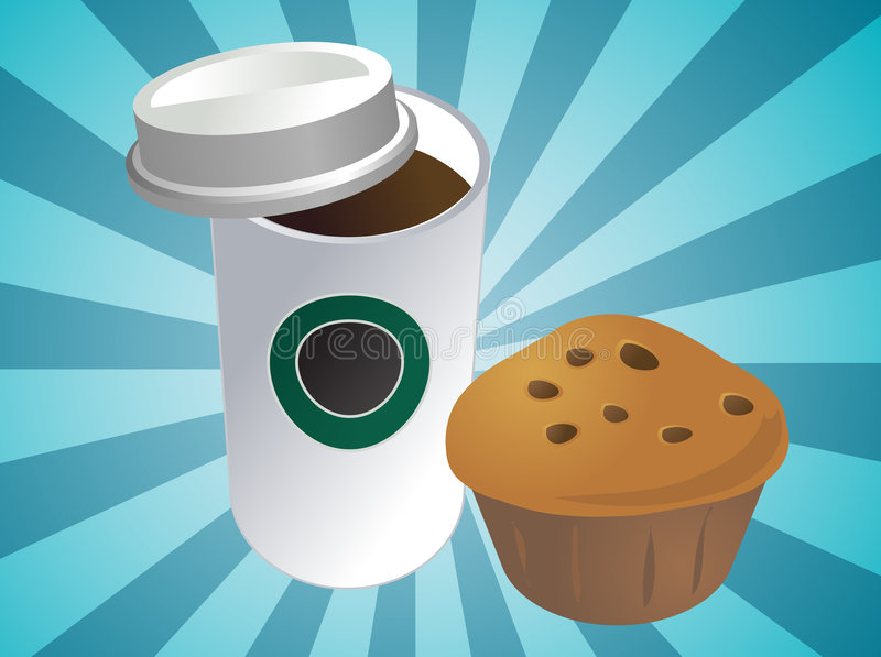 Café et pain illustration libre de droits