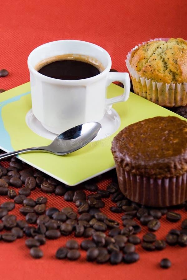 Café et pains image stock