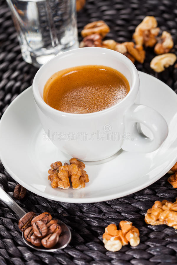 Café express del café, sabor de nuez fotos de archivo libres de regalías