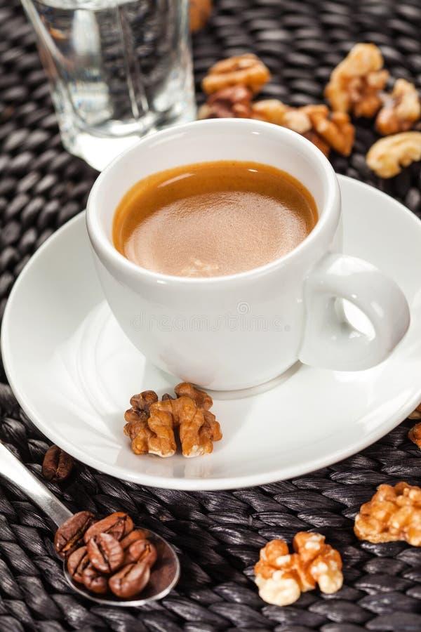 Café express del café, sabor de nuez imágenes de archivo libres de regalías
