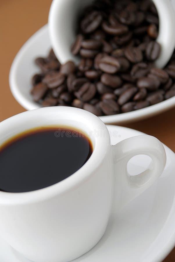 Café express y habas foto de archivo