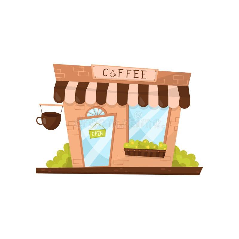 Café extérieur dans le style de bande dessinée Façade de petit magasin ou de café Bâtiment commercial Conception plate de vecteur illustration libre de droits