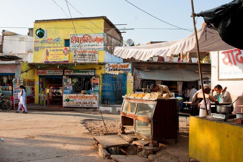 Café extérieur indien de la vieille rue de ville photos libres de droits